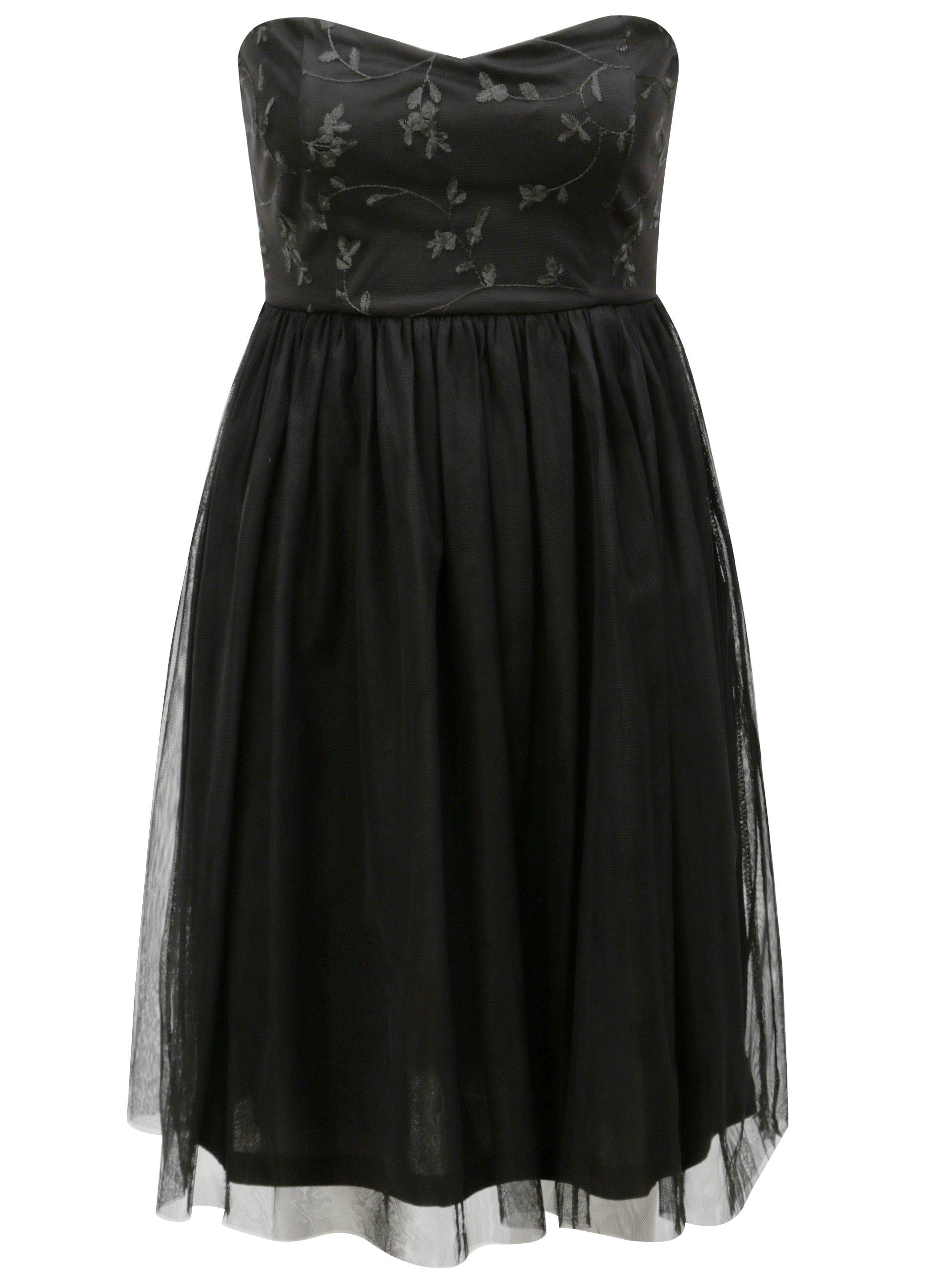 4cff01d2469f Čierne tylové šaty s prestrihom na chrbte ONLY Juhlia