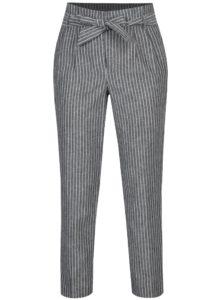 Sivé pruhované skrátené nohavice s vysokým pásom Miss Selfridge