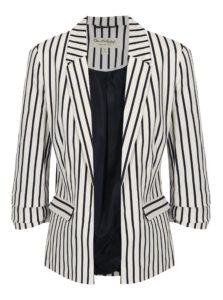 Modro-biele kostýmové pruhované sako Miss Selfridge