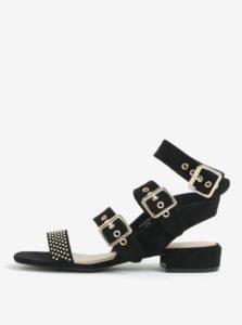 Čierne sandále v semišovej úprave s detailmi v zlatej farbe miss Selfridge