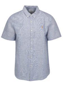 Modrá ľanová slim fit košeľa Farah Bresson