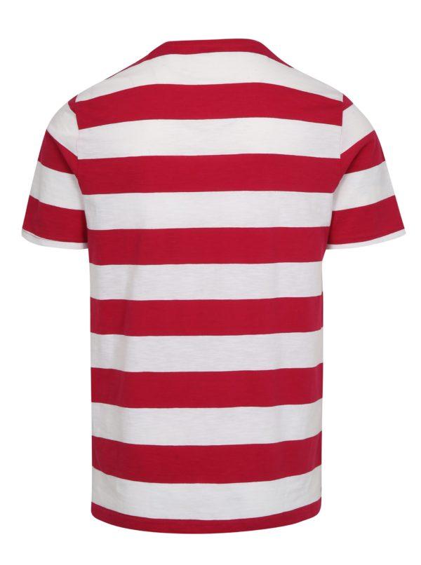 Bielo-ružové pruhované tričko ONLY & SONS Dontell