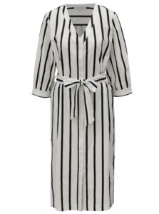 Čierno-biele pruhované košeľové midišaty Selected Femme Nadine