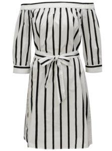 Biele pruhované šaty s odhalenými ramenami Selected Femme Nadine
