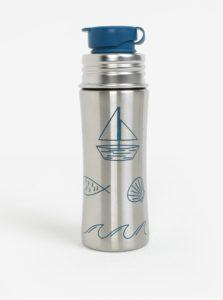 Nerezová fľaša na pitie s detailmi v modrej farbe Affenzahn 330 ml