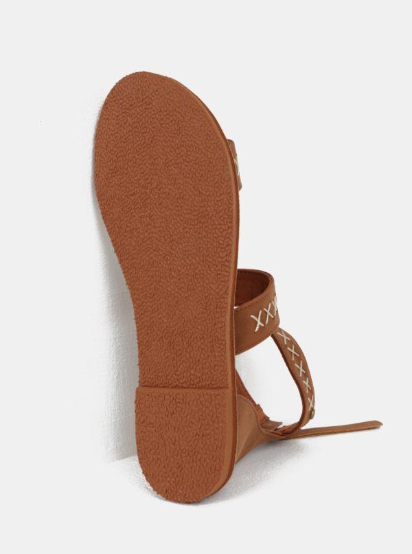 Hnedé dámske sandále s prešívaným vzorom Roxy Natalie