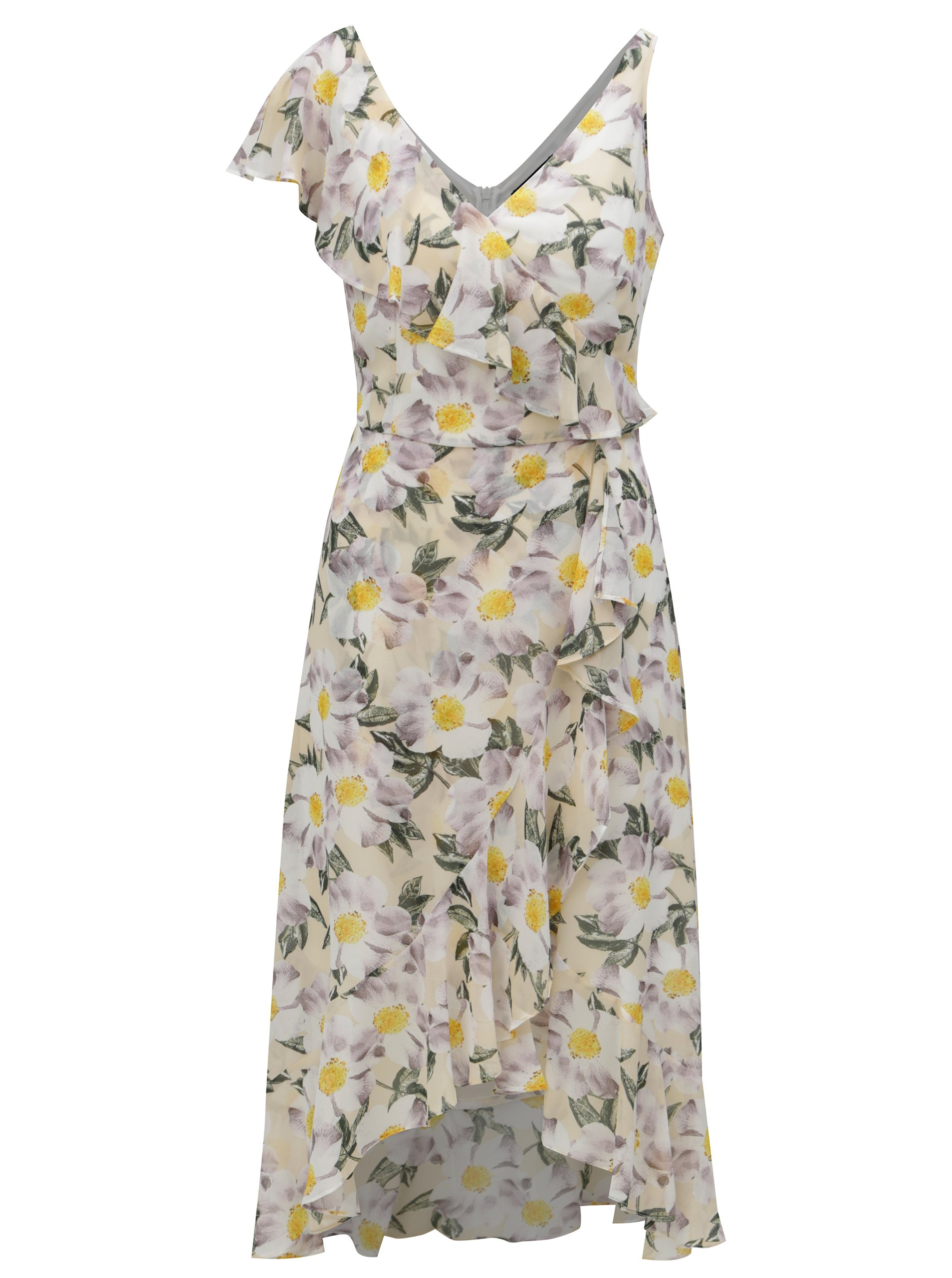59fcb0a22d88 Bielo-žlté kvetované midi šaty s volánmi Dorothy Perkins