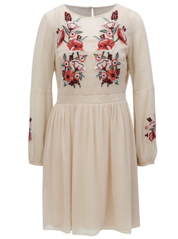 Svetloružové šaty s kvetovanou výšivkou Dorothy Perkins