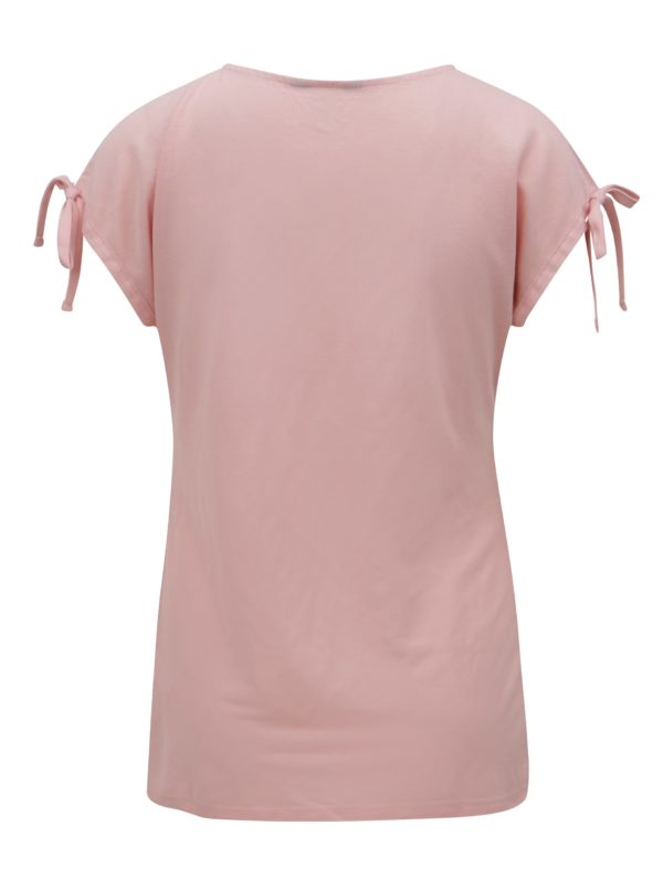 Ružové tričko s prestrihmi a potlačou Dorothy Perkins