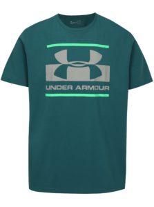 Tyrkysové pánske funkčné tričko s potlačou Under Armour Blocked
