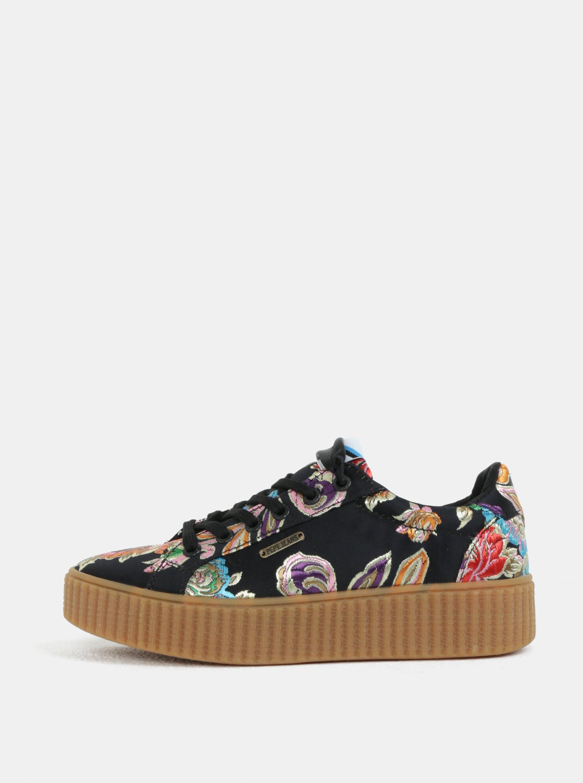 e670a8451b2d Čierne dámske kvetované tenisky na platforme Pepe Jeans Frida orient ...