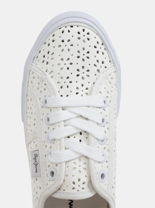 Biele dámske perforované tenisky Pepe Jeans Aberlady daisy  f47159b465