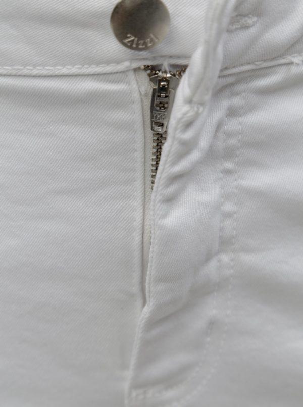 Biele rifľové slim kraťasy Zizzi