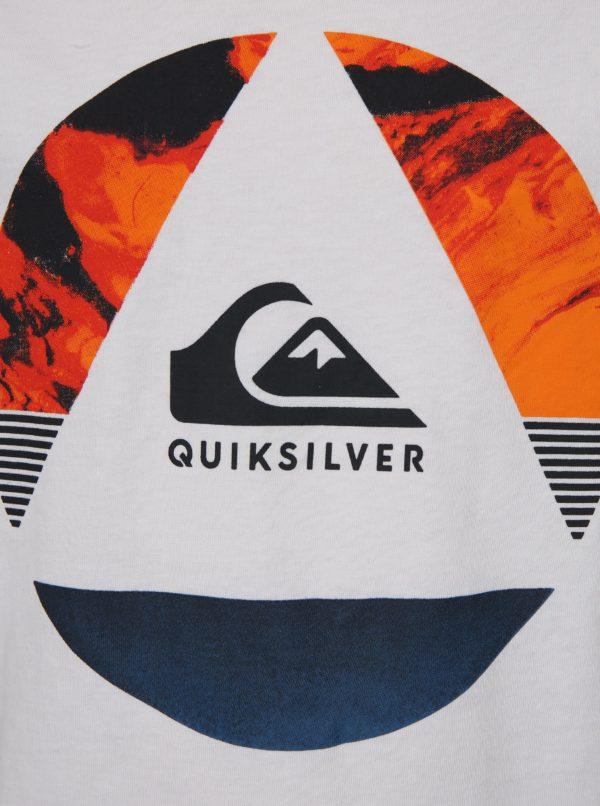 Biele chlapčenské regular fit tričko s potlačou Quiksilver