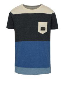 Sivo-modré chlapčenské modern fit tričko s vreckom Quiksilver