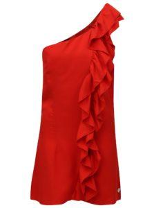 Červené šaty cez jedno rameno s volánom Fornarina Leila