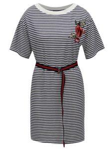Bielo-modré pruhované šaty s výšivkou Fornarina Tamara