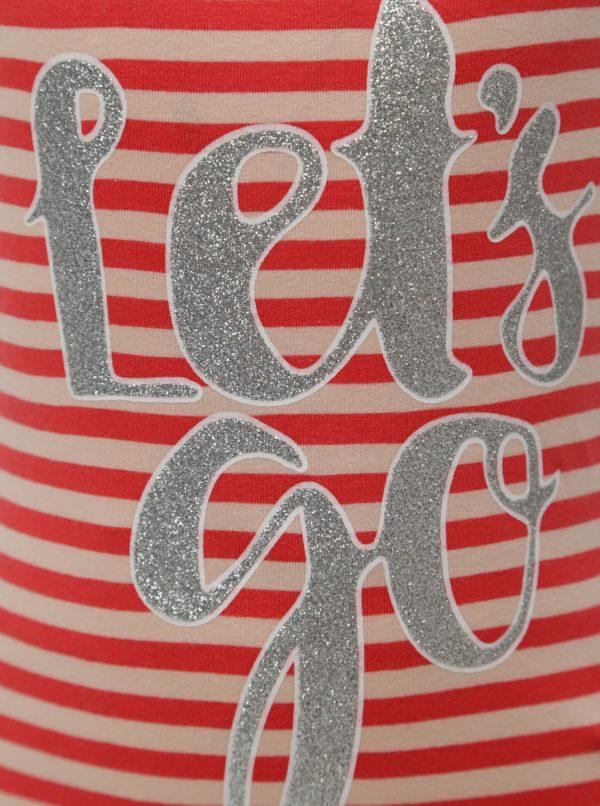 Béžovo-červené dievčenské pruhované šaty name it Pihla