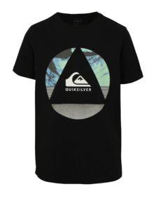 Čierne chlapčenské tričko s potlačou Quiksilver