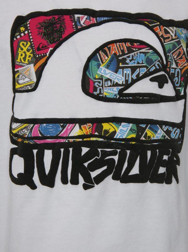 Biele chlapčenské regular fit tričko s barebnou potlačou Quisilver