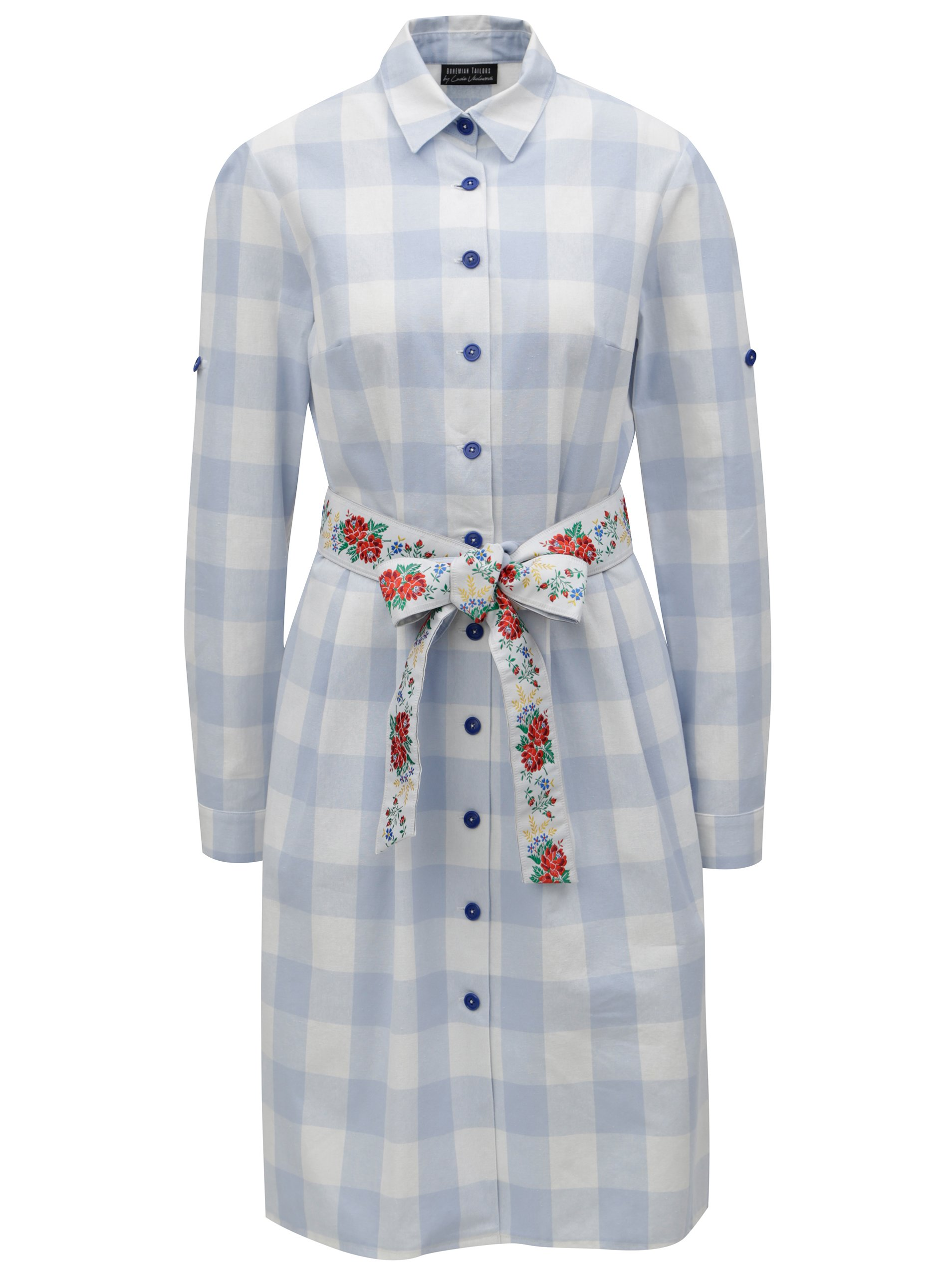f107bf51a222 Svetlomodré kockované košeľové šaty Bohemian Tailors Edita