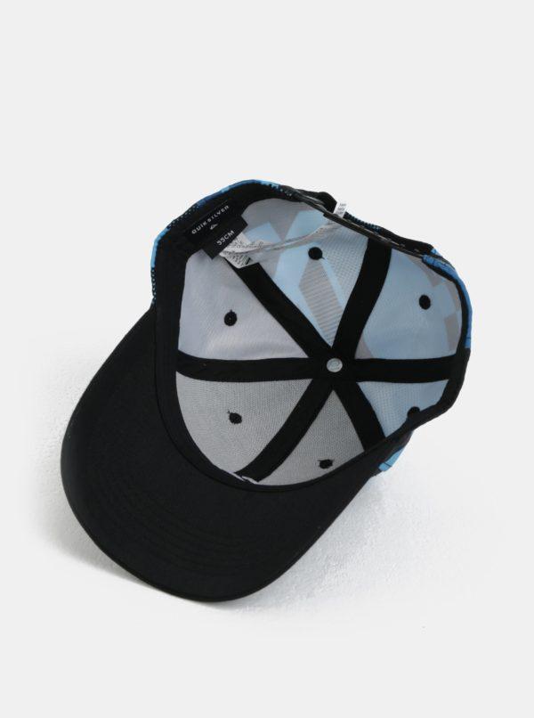 Tyrkysovo-čierna chlapčenská vzorovaná šiltovka Quiksilver