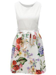 Krémové kvetované šaty so zaväzovaním v páse Haily's Vicky