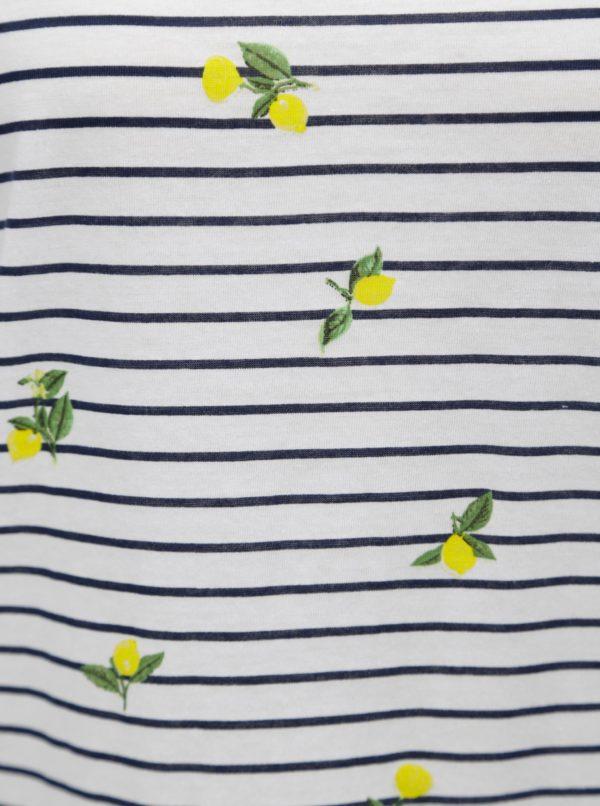 Biele pruhované tričko s potlačou citrónov TALLY WEiJL