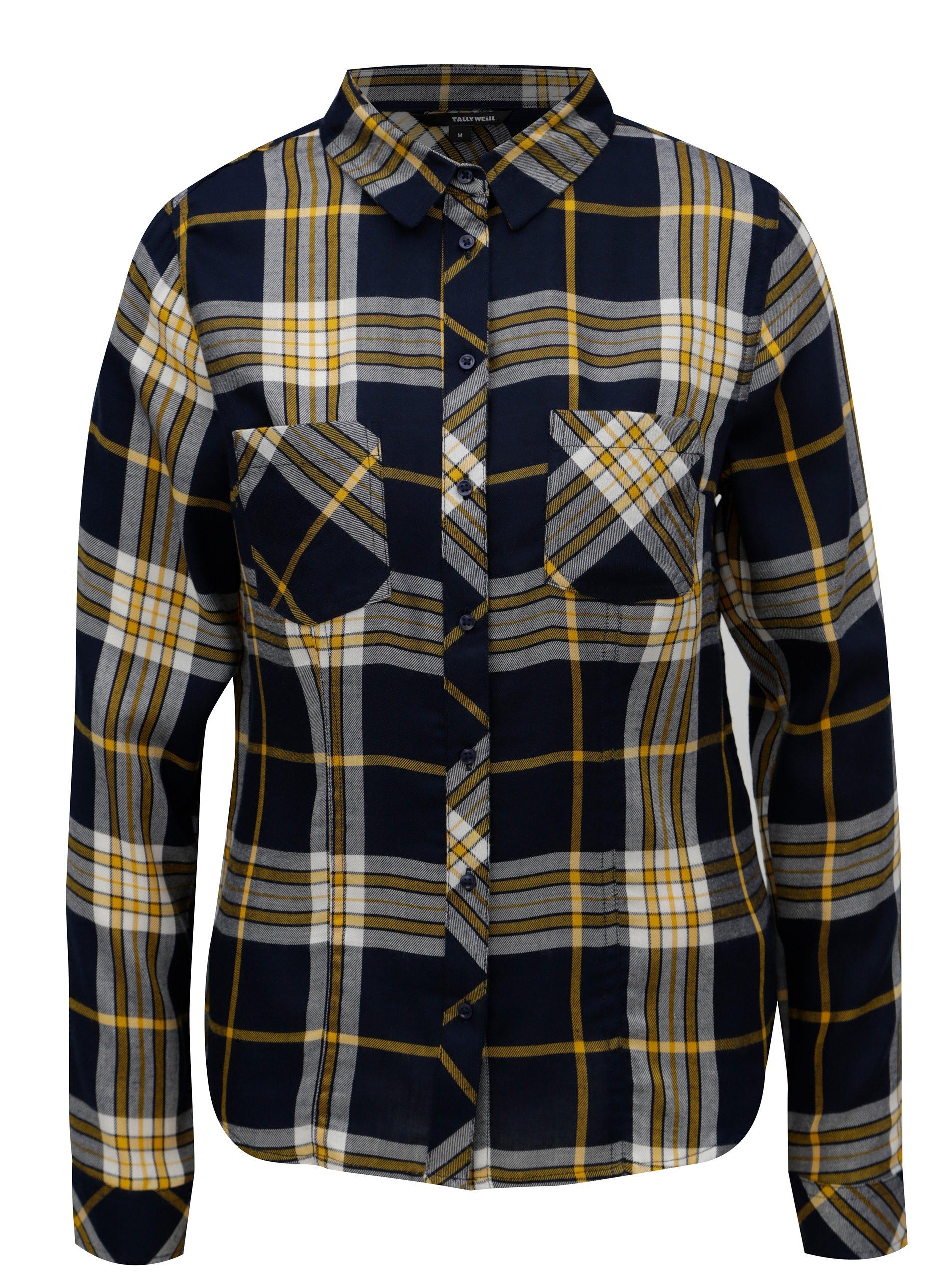 24f3345ecd5d Žlto-modrá kockovaná košeľa TALLY WEiJL