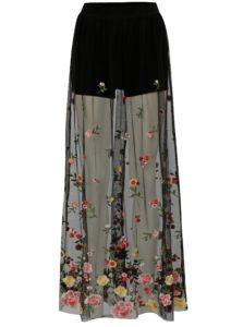 Čierna priesvitná maxi sukňa s vyšívaným vzorom TALLY WEiJL