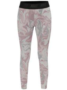 Sivo–ružové vzorované legíny Nike