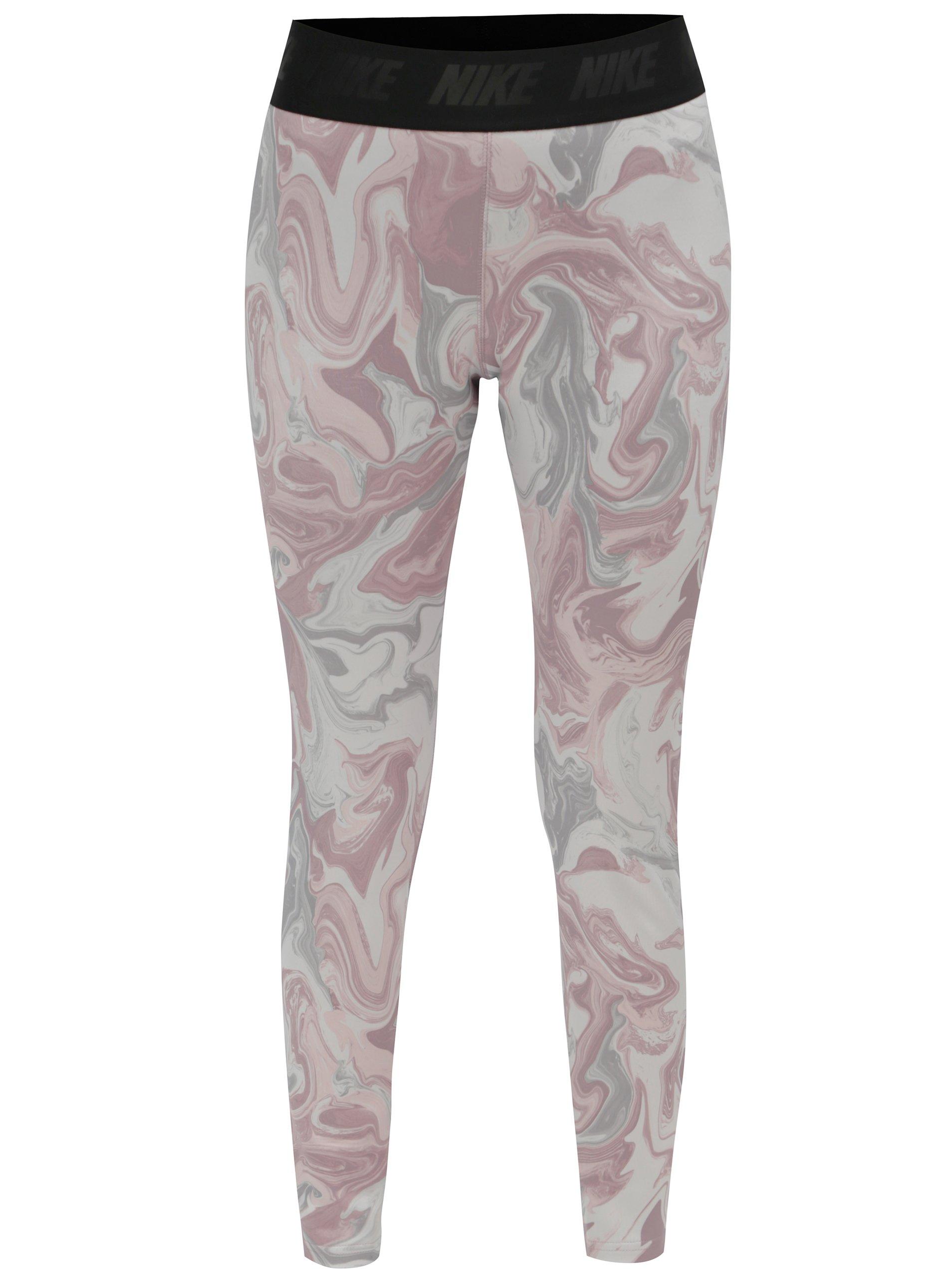 Sivo–ružové vzorované legíny Nike  b07d9552ba4