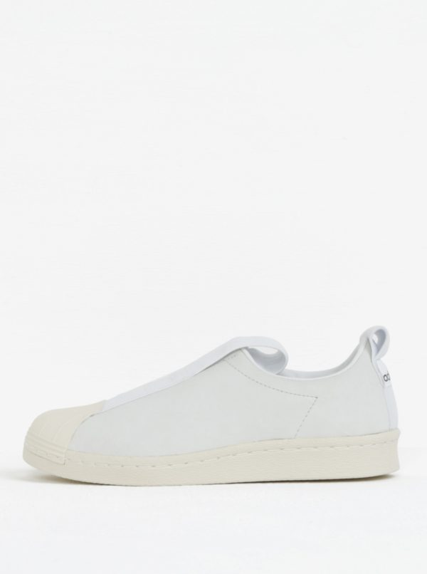 Biele dámske kožené slip on adidas Originals Tubular Superstar