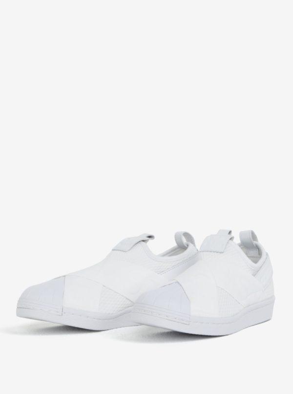 Biele dámske slip on s koženými detailmi adidas Originals Superstar