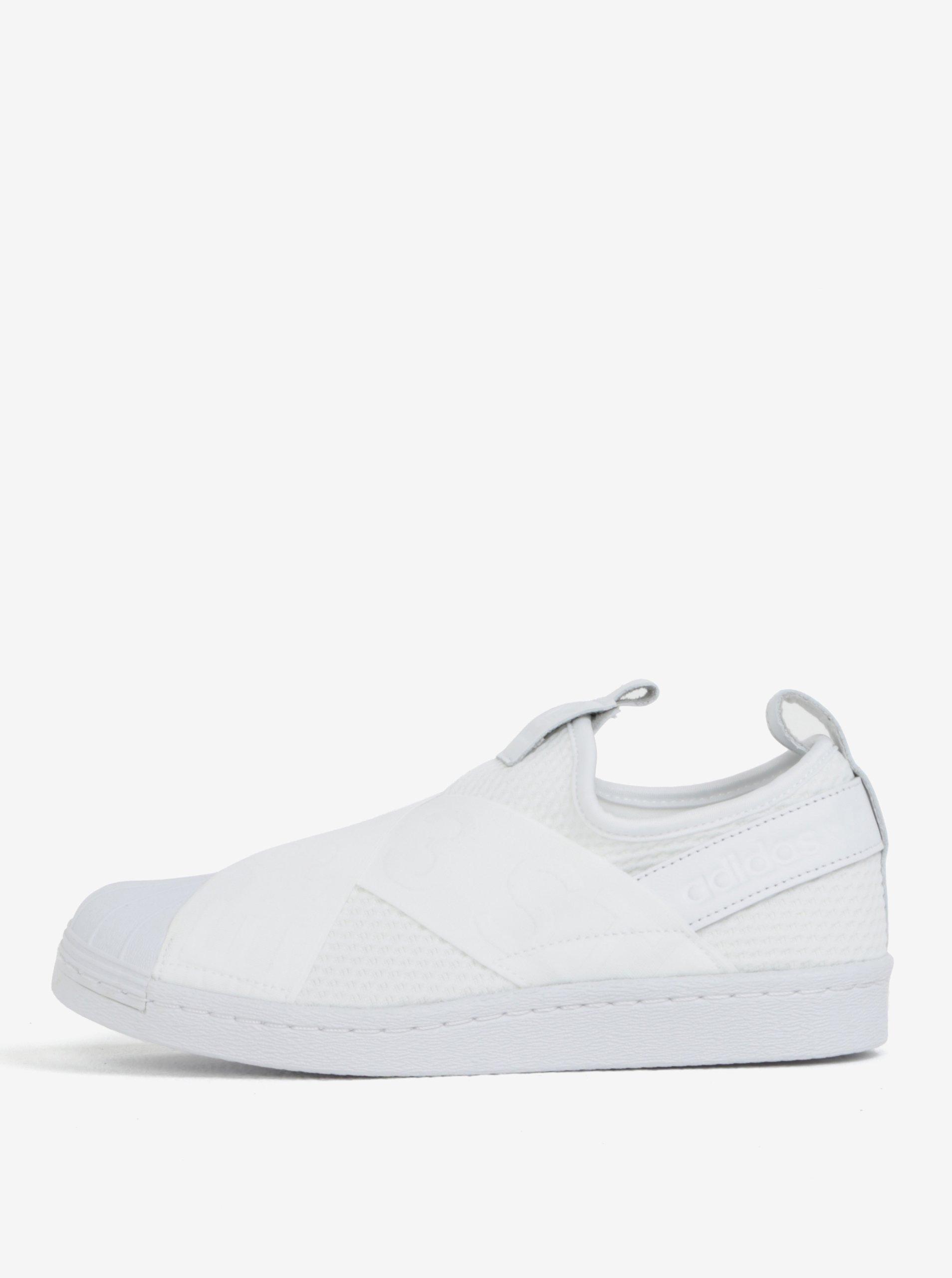 f4d6c15bc83d1 Biele dámske slip on s koženými detailmi adidas Originals Superstar ...