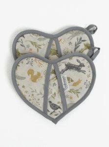 Krémová súprava dvoch chňapiek v tvare srdca Cooksmart