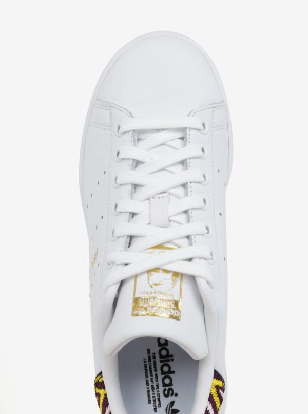 08c43590edad3 Biele dámske kožené tenisky s vyšitým detailom adidas Originals Stan Smith