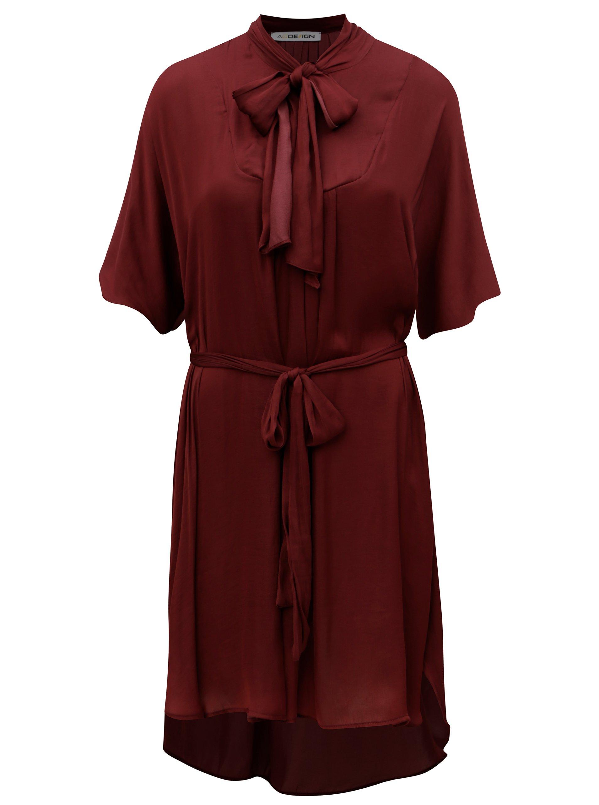 019a3a32e Vínové šaty so zaväzovaním pri krku Alexandra Ghiorghie Monica   Moda.sk