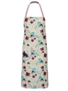 Bielo-fialová zástera s kvetovaným motívom Cooksmart