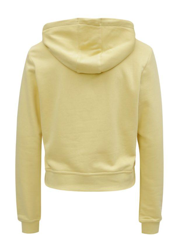 Žltá dámska crop mikina s kapucňou Nike Hoodie
