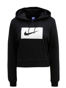 Čierna dámska crop mikina s kapucňou Nike Hoodie