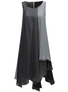 Sivé voľné asymeterické šaty s metalickými odleskami Alexandra Ghiorghie Study