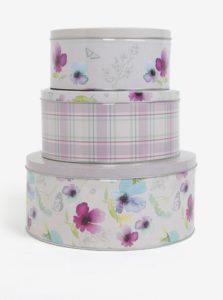 Bielo-fialová súprava troch plechových dóz s kvetovaným motívom Cooksmart