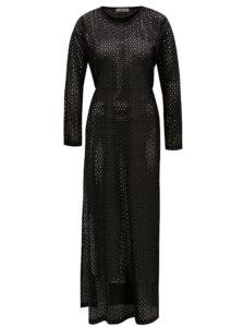 Čierne maxišaty s dierkovaným vzorom Alexandra Ghiorghie Pelin