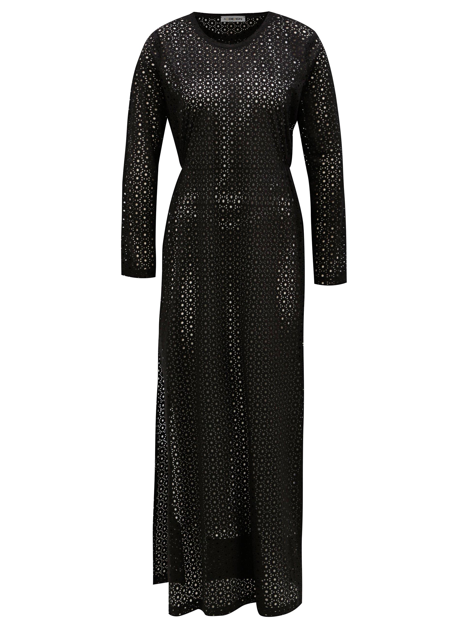 Čierne maxišaty s dierkovaným vzorom Alexandra Ghiorghie Pelin  0fd097fd995