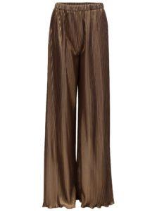 Plisované voľné nohavice s vysokým pásom v zlatej farbe Alexandra Ghiorghie Pelerin