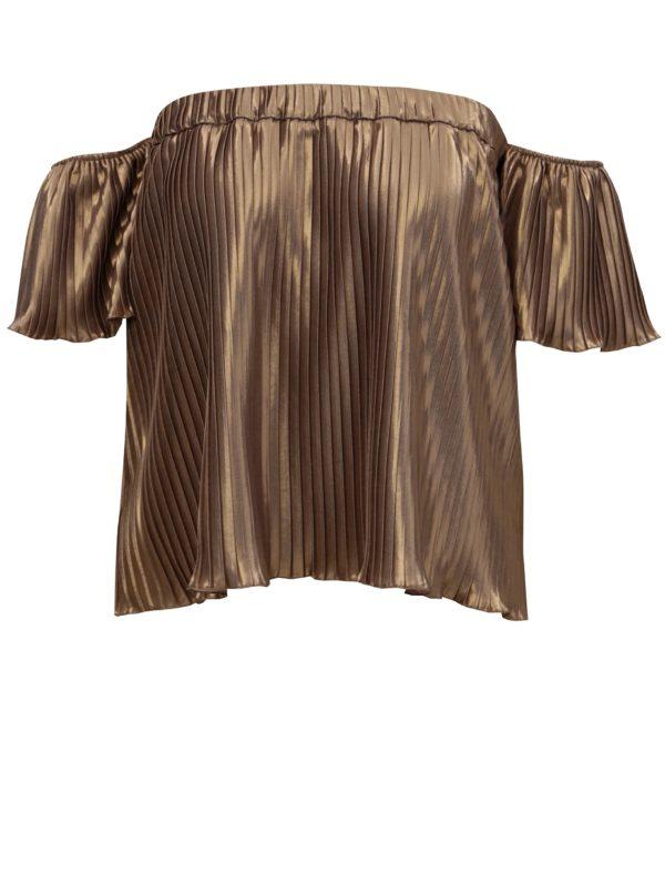 Plisovaný top s odhalenými ramenami v zlatej farbe Alexandra Ghiorghie Pelerin
