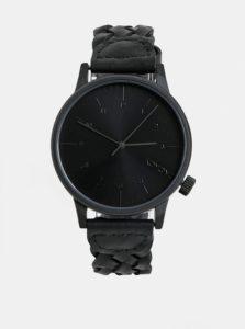 Čierne pánske hodinky Komono s koženým remienkom Harlow
