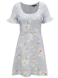 Svetlomodré kvetované šaty s volánmi na rukávoch French Connection Alba