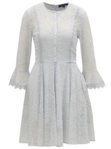 Svetlomodré šaty s madeirou a 3/4 rukávom French Connection Derna